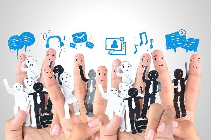 20022437 - smiling finger for symbol of business social network