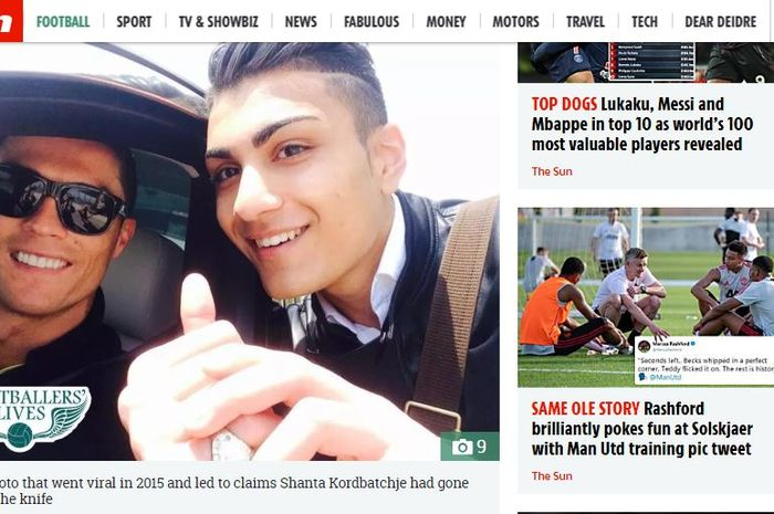 Foto Cristiano Ronaldo dan Shanta Rasoulinia Kordbatchje yang viral pada 2015 dalam pemberitaan medi
