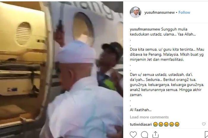 Ustaz Arifin Ilham saat hendak berobat ke Malaysia menggunakan jet pribadi.