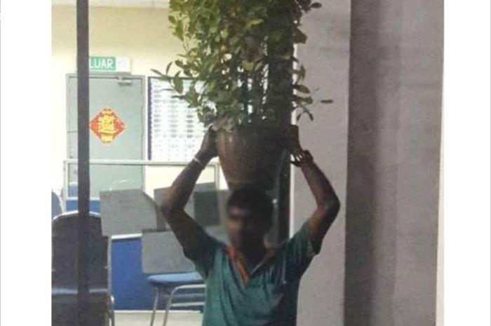 Pria yang meletakkan pot bunga di kepalanya