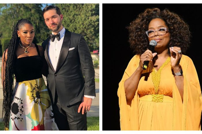 Kolase foto pasangan Serena Williams-Alexis Ohanian dan Oprah (kanan).