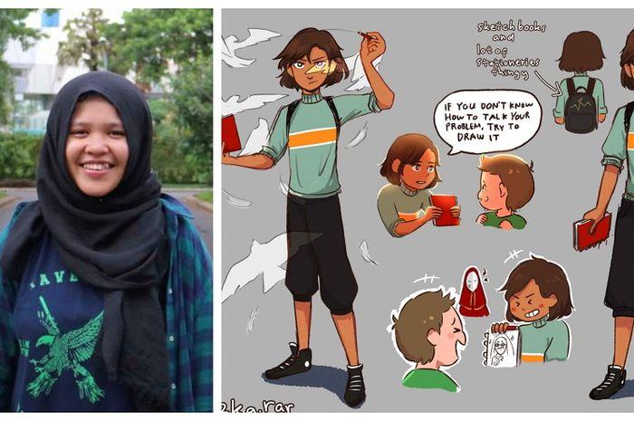 Rizka Raisa Fatima dan karakter komik buatannya, Cipta.