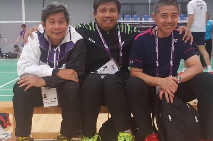 Tiga pelatih kawakan Indonesia, (dari ki-ka) Herry IP, Agus Dwi Santoso, dan Mulyo Handoyo, saat ber