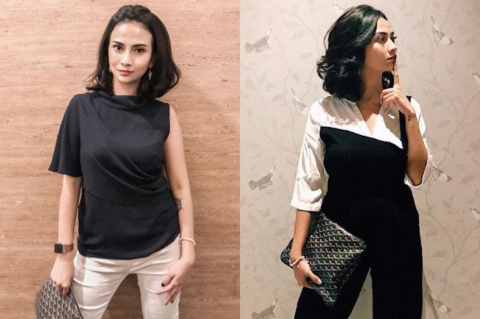 Tersangka kasus prostitusi online Vanessa Angel terlihat tampil modis menenteng sebuah tas mewah Goy
