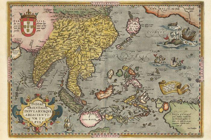Peta berjudul Indiæ Orientalis karya Abraham Ortellius  pada 1570