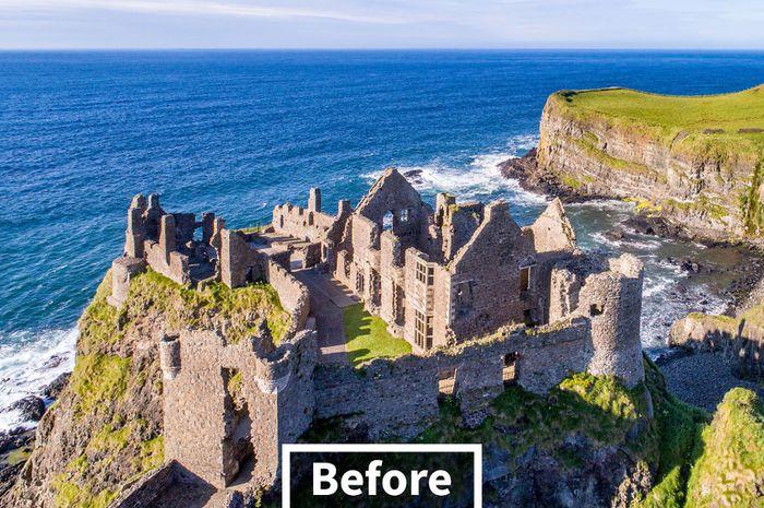 Dunluce Castle (County Antrim, Northern Ireland) sebelum direkonstruksi oleh teknologi