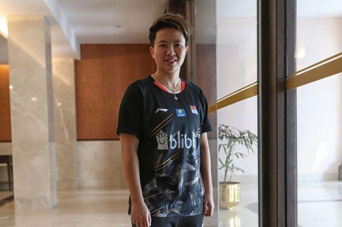 Liliyana Natsir Berpose seusai menjalani konferensi pers Indonesia Masters 2019 di Istora Senayan, J