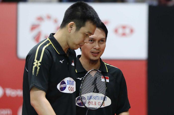 Pasangan ganda putra Indonesia, Mohammad Ahsan/Hendra Setiawan, pada babak pertama Indonesia Masters