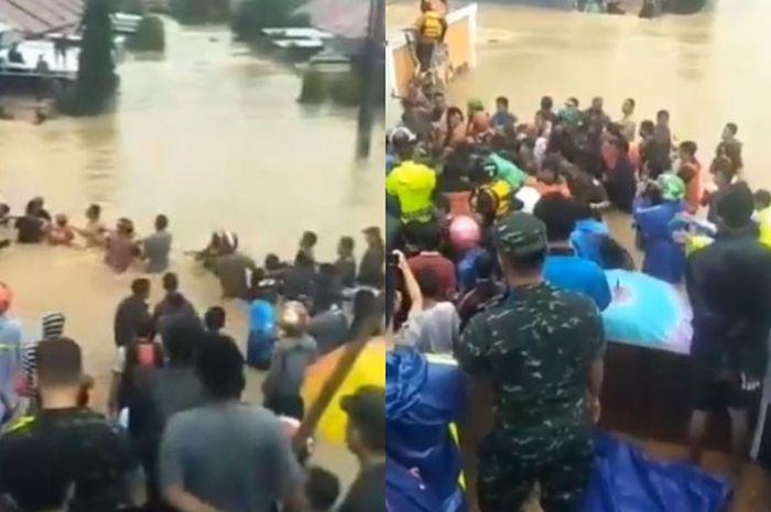 Detik-detik Penyelamatan Bayi yang Terjebak Banjir Bandang di Gowa, Warga Hanya Andalkan Seutas Tali