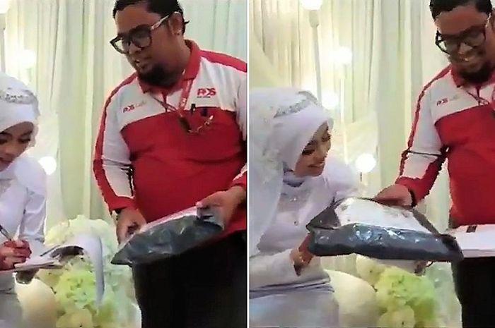 Seorang kurir tiba-tiba datang ke pernikahan dan memberikan paket pada pengantin