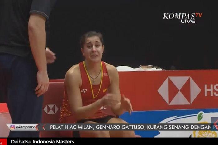 Pebulu tangkis putri asal Spanyol, Carolina Marin gagal melanjutkan pertandingan final Indonesia Masters 2019