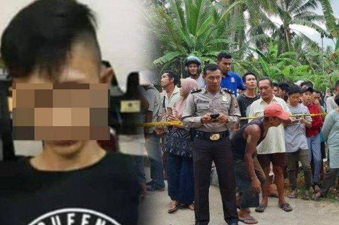 AP (18) diduga kuat pelaku pembunuhan Haryanto pengusaha keripik Desa Malikian Kabupaten Mempawah Kalimantan Barat saat diamankan anggota Resmob Ditreskrimum Polda Kalbar, Selasa (29/1/2019).
