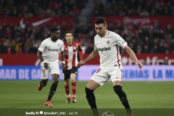 Penyerang Sevilla, Munir El Haddadi, beraksi dalam laga Copa del Rey melawan Athletic Bilbao, 16 Januari 2019 di Stadion Ramon Sanchez Pizjuan, Sevilla.