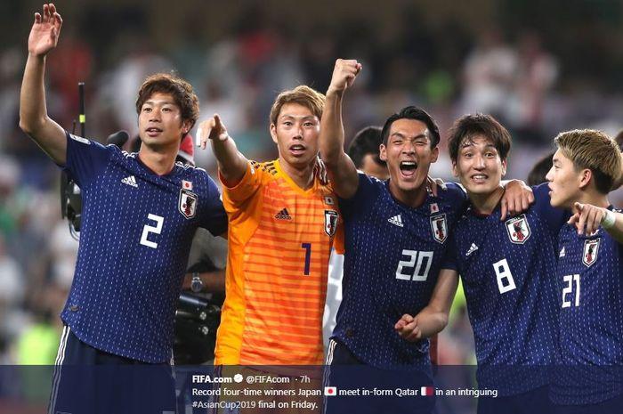 Timnas Jepang menantang Qatar dalam final Piala Asia 2019 di Zayed Sports City Stadium, Abu Dhabi, 1 Februari 2019.
