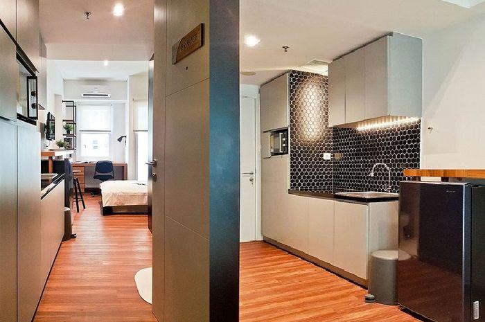 Area dapur dan ruang kerja di apartemen seluas 22 m2.