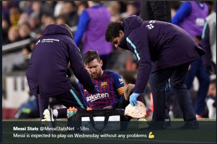 Megabintang Barcelona, Lionel Messi, mengalami cedera saat melawan Valencia di Camp Nou, Sabtu (2/2/2019)