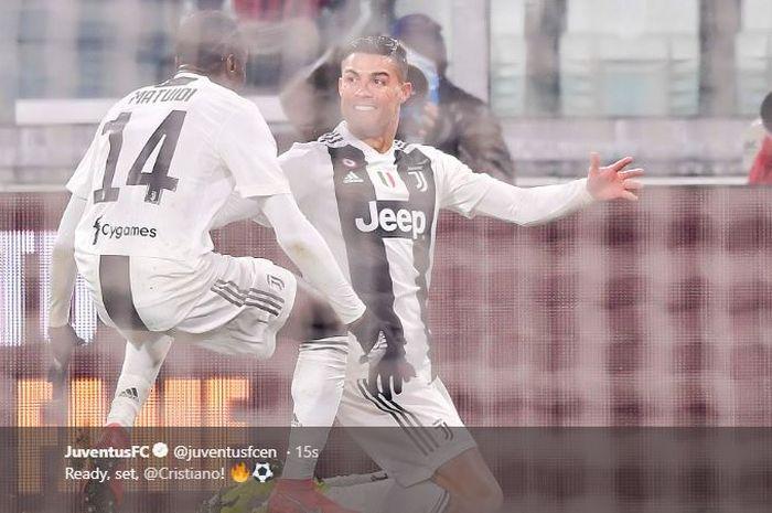 Penyerang Juventus, Cristiano Ronaldo, merayakan gol dalam laga pekan ke-22 Liga Italia melawan Parma di Stadion Allianz Turin, 2 Februari 2019.