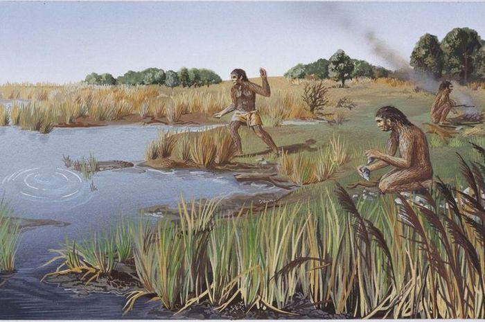 Homo Erectus, yang hidup dari 1,8 juta tahun lalu disebut sebagai manusia purba pertama yang menemukan bahasa