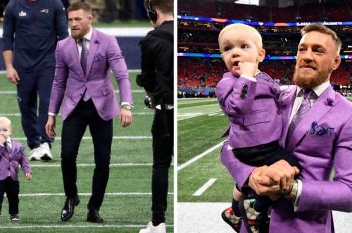 McGregor dan putranya dalam setelan baju ungu saat menonton pertandingan superbowl LIII