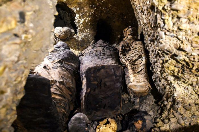 Mumi yang baru ditemukan terbungkus linen. Diduga berasal dari era Pletomaik.