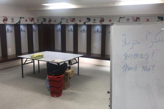 Timnas Jepang meninggalkan ruang ganti mereka dengan bersih dan rapi setelah kalah dari Qatar di Piala Asia 2019.