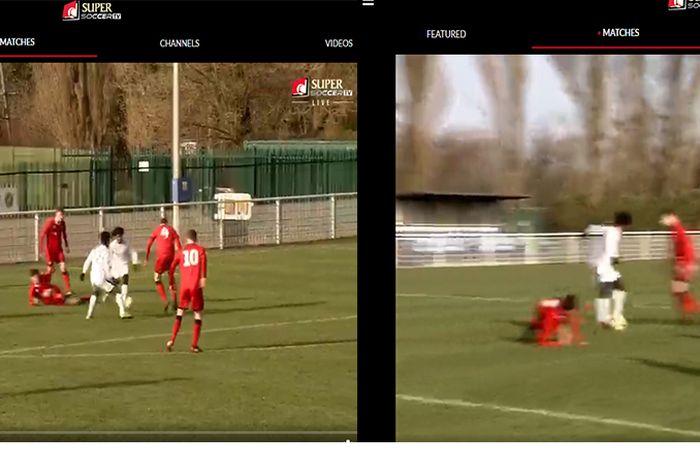 Screen capture pertandingan saat Bagus Kahfi berebut bola sebelum teroper ke Supriadi