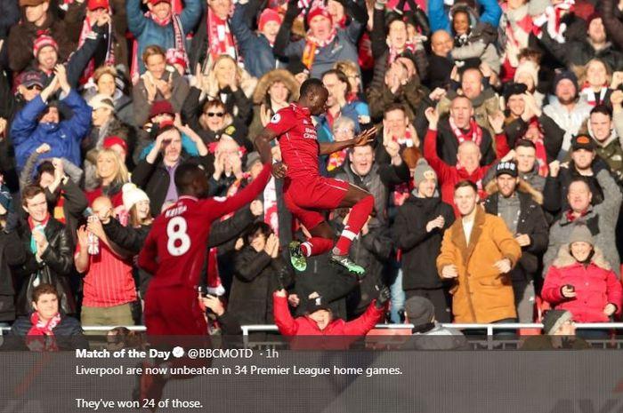 Sadio Mane merayakan gol untuk Liverpool ke gawang Bournemouh, 9 Februari 2019.