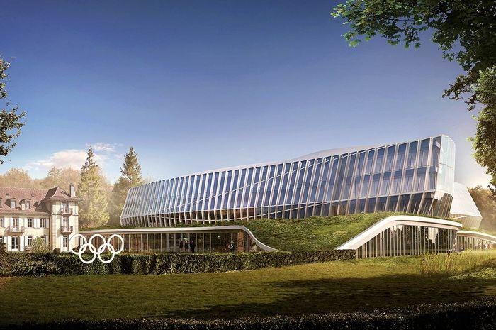 Gedung Olimpiade baru yang akan menjadi Kantor Pusat  Komite Olimpiade Internasional, di Lausanne, Swiss.