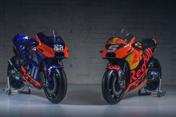 Tampang livery tim KTM di MotoGP, KTM Tech3 (kiri) dan KTM Factory Racing (kanan)