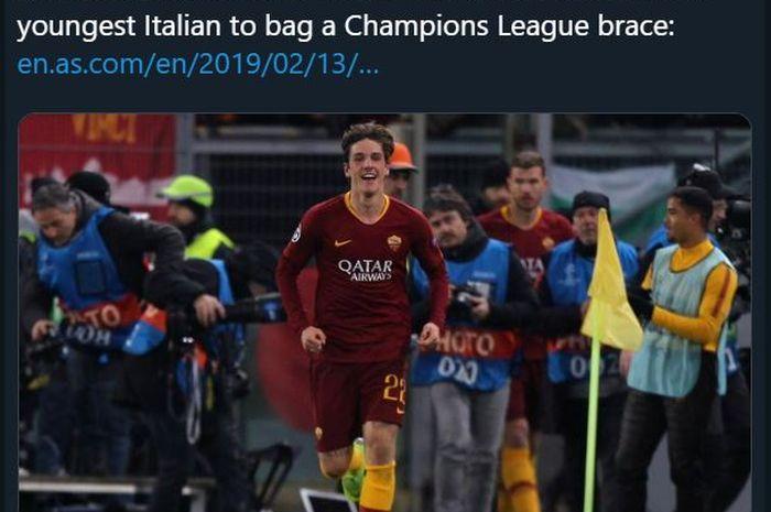 Pemain muda AS Roma, Nicolo Zaniolo.