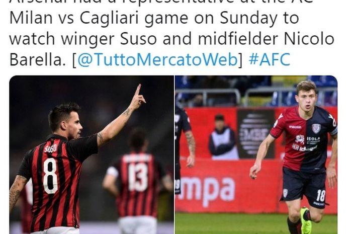 Pemain sayap AC Milan, Suso dan gelandang Cagliari, Nicolo Barella dikabarkan masuk dalam radar Arsenal sebagai antisipasi hengkangnya Ramsey ke Juventus.