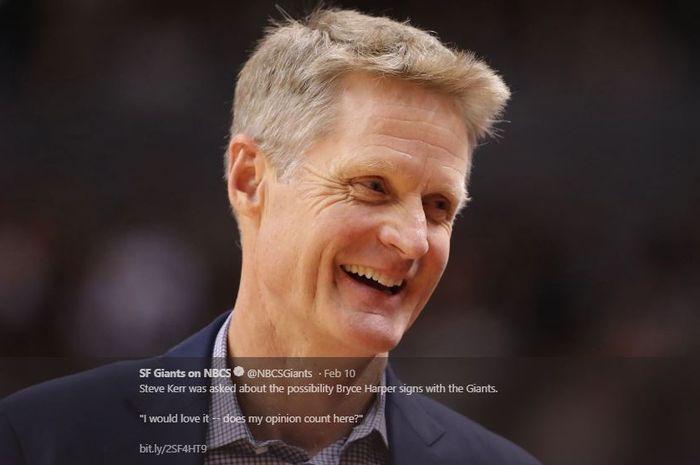 Pelatih Golden State Warriors, Steve Kerr.