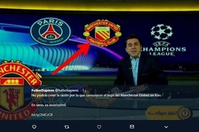 Logo Manchester United yang diubah oleh stasiun Televisi di Iran.