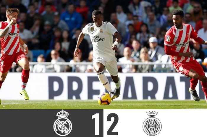 Real Madrid kalah di Liga Spanyol melawan Girona di Stadion Santiago Bernabeu, Minggu (17/2/2019).