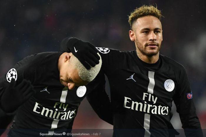 Bintang Paris Saint-Germain, Neymar (kanan) bersama Kylian Mbeppe.