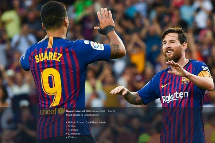 Luis Suarez (kiri) termasuk pelayan terbaik Lionel Messi di Barcelona.