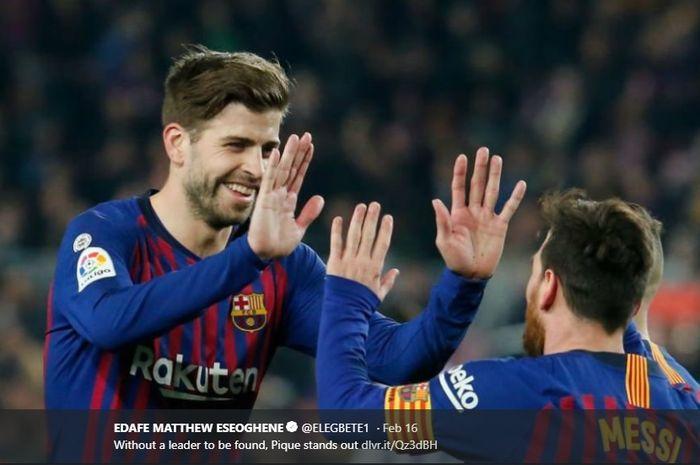 Bek senior Barcelona, Gerard Pique, sedang dalam kondisi terbaik  dengan kehebatannya baik di pertahanan dan di kotak lawan.