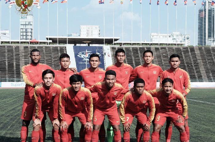 Timnas U-22 Indonesia jelang laga kontra timnas U-22 Malaysia pada laga kedua Grup B Piala AFF U-22 2019 di Stadion Olimpiade, Phnom Penh, Kamboja, 20 Februari 2019.