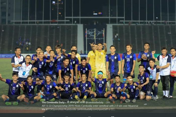 Timnas U-22 Kamboja merayakan kesuksesan lolos ke semifinal Piala AFF U-22 2019.