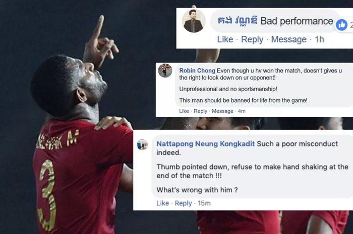 Komentar negatif yang dituliskan fans timnas U-22 Kamboja untuk Marinus Manewar atas sikapnya setelah laga di Piala AFF U-22 2019.