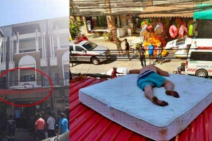 Turis ini ditemukan tidur di atas atap kamar hotel.