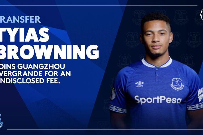 Pengumuman Everton atas kepindahan bek mereka Tyias Browning ke Guangzhou Evergrande.