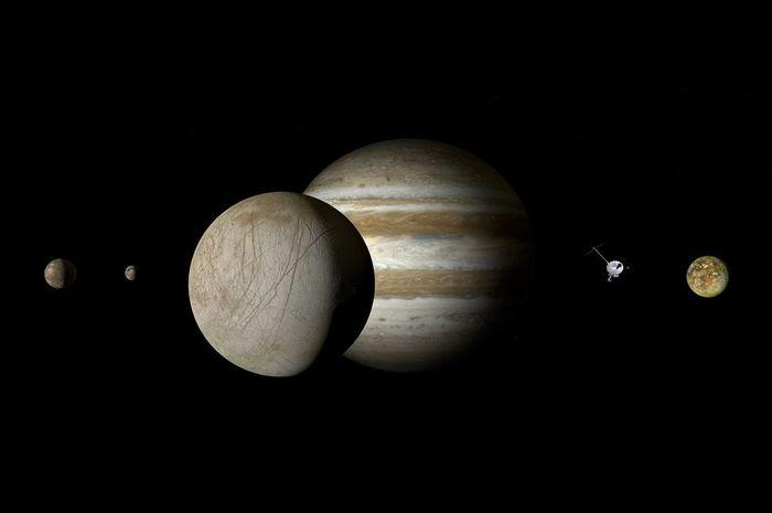 Ilustrasi Jupiter dan bulan-bulannya.