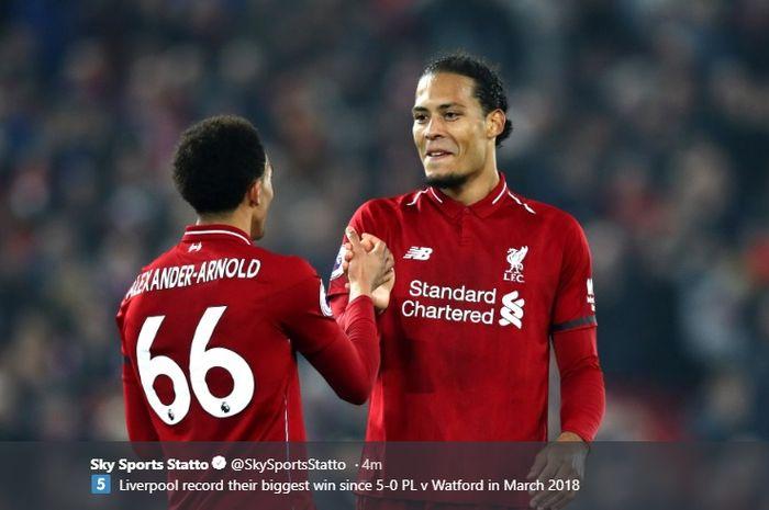 Bek Liverpool, Virgil van Dijk memberikan ungkapan terima kasih kepada Trent Alexander-Arnold berkat assistnya yang membuat dirinya mampu mencetak dua gol.