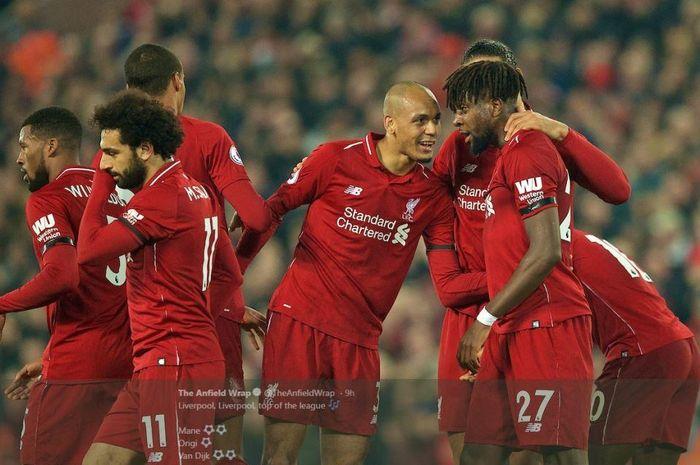 Para pemain Liverpool merayakan gol mereka ke gawang Watford dalam partai Liga Inggris di Anfield, 27 Februari 2019.