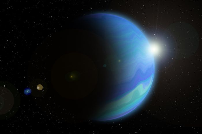 Ilustrasi Planet Neptunus dengan Matahari berada di belakangnya.