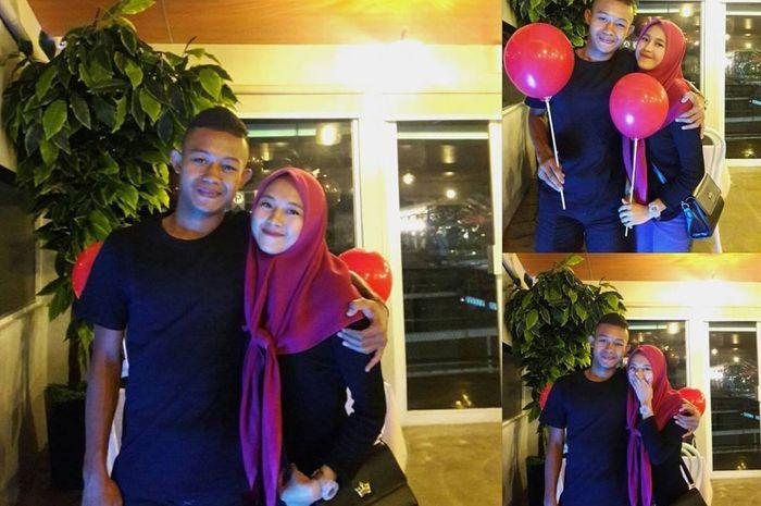 Pemain timnas U-22 Indonesia, Sani Rizki dan kekasihnya, Ghea Aulia.