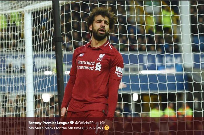 Mohamed Salah  kembali gagal mencetak gol saat Liverpool melawan Everton, hari Minggu (3/3/2019)