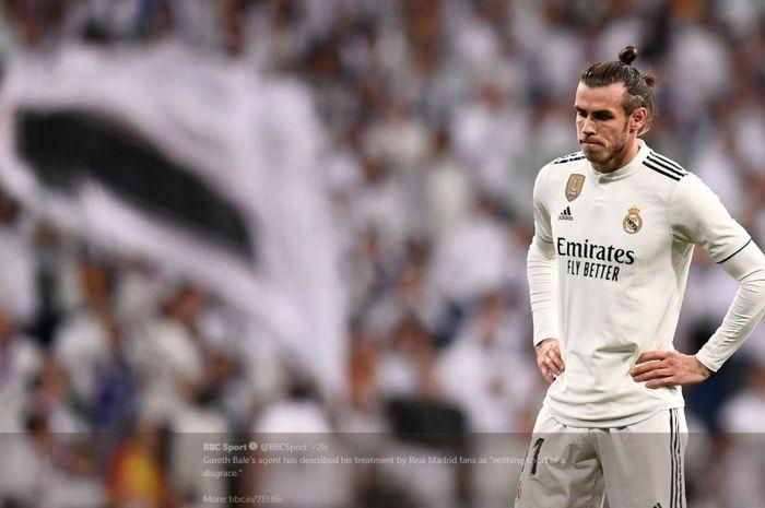 Ekspresi lesu winger Real Madrid, Gareth Bale.