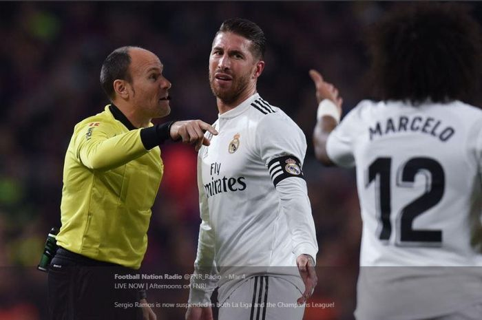 Kapten Real Madrid, Sergio Ramos, absen dalam partai babak 16 besar Liga Champions kontra Ajax Amsterdam, 5 Maret 2019.